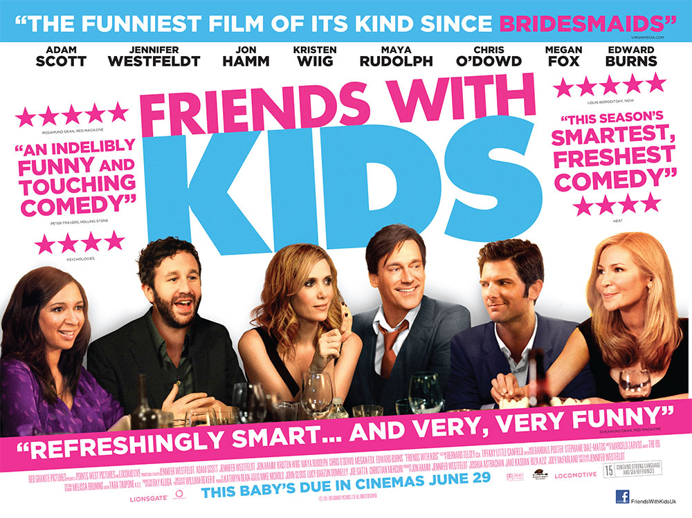 The film quad poster for the movie Friends With Kids starring Jon Hamm