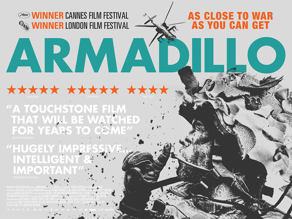 The film quad poster for the documentary movie, Armadillo