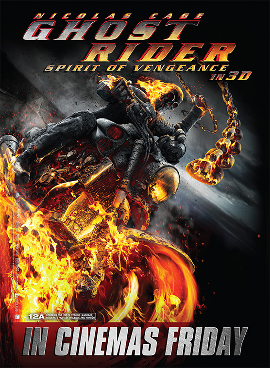The film poster for the movie Ghost Rider starring Nicolas Cage
