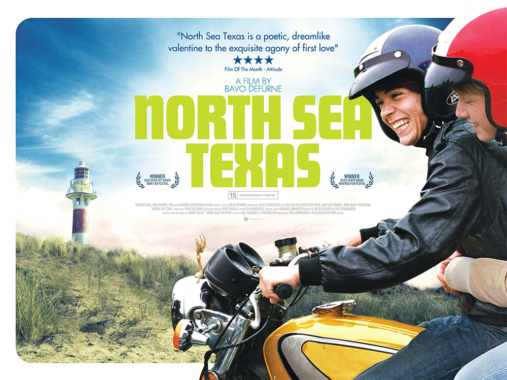 The film quad poster for the movie North Sea Texas, directed by Bavo Defurne