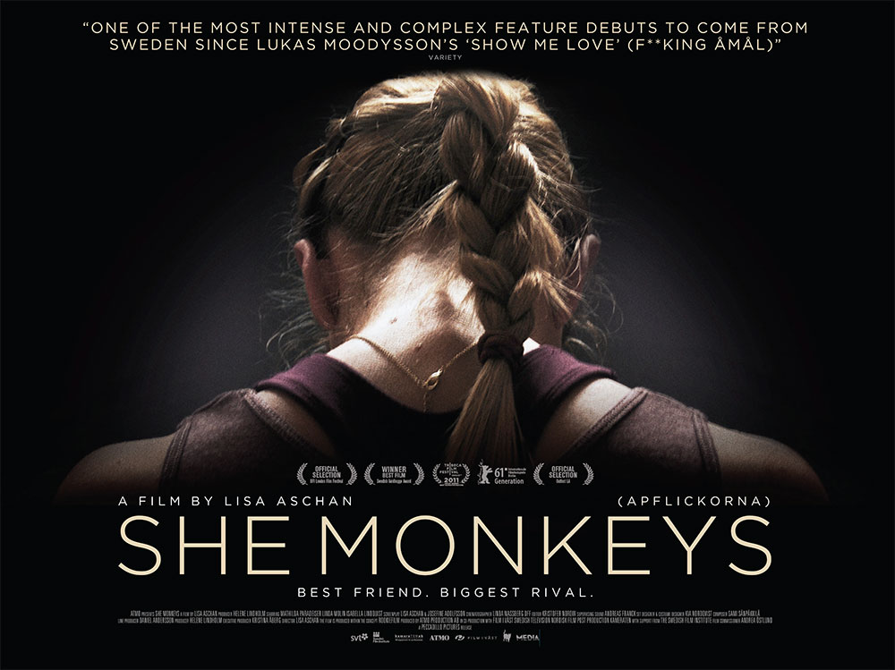 The film quad poster for the movie She Monkeys, directed by Lisa Aschan